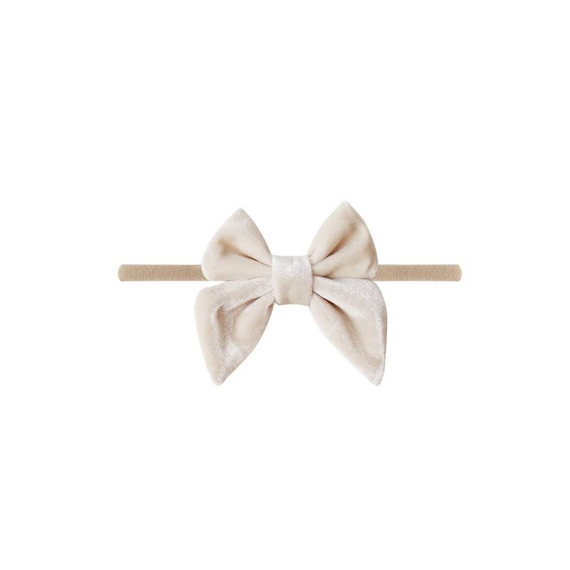Cream Velvet Bow Baby Headband