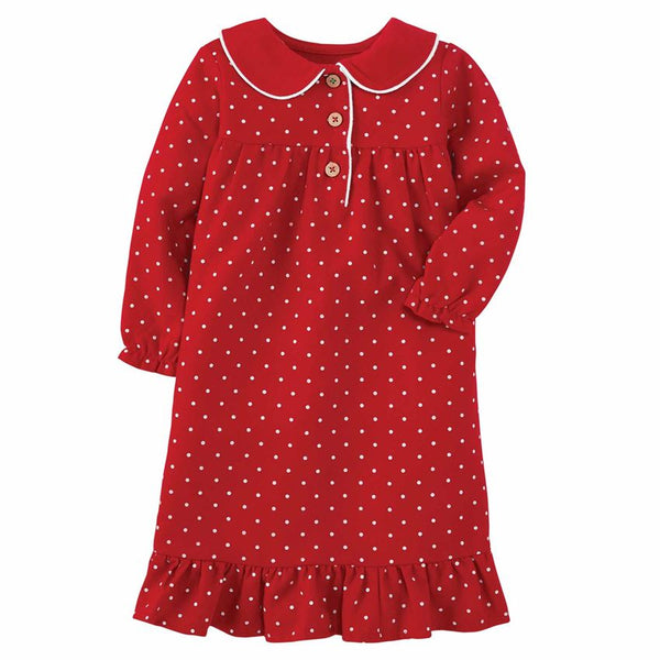 FLANNEL POLKA DOT GIRL'S NIGHT GOWN