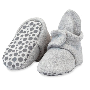 Cozie Fleece Gripper Bootie- Heater Gray