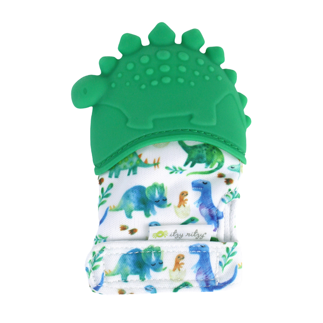Silicone Teething Mitt- Green Dino