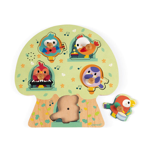 Musical Puzzle Birdy Party 5 Pieces (Wood)