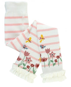 Ballet Pink & Ivory Stripe Floral Footless Ruffle Tights