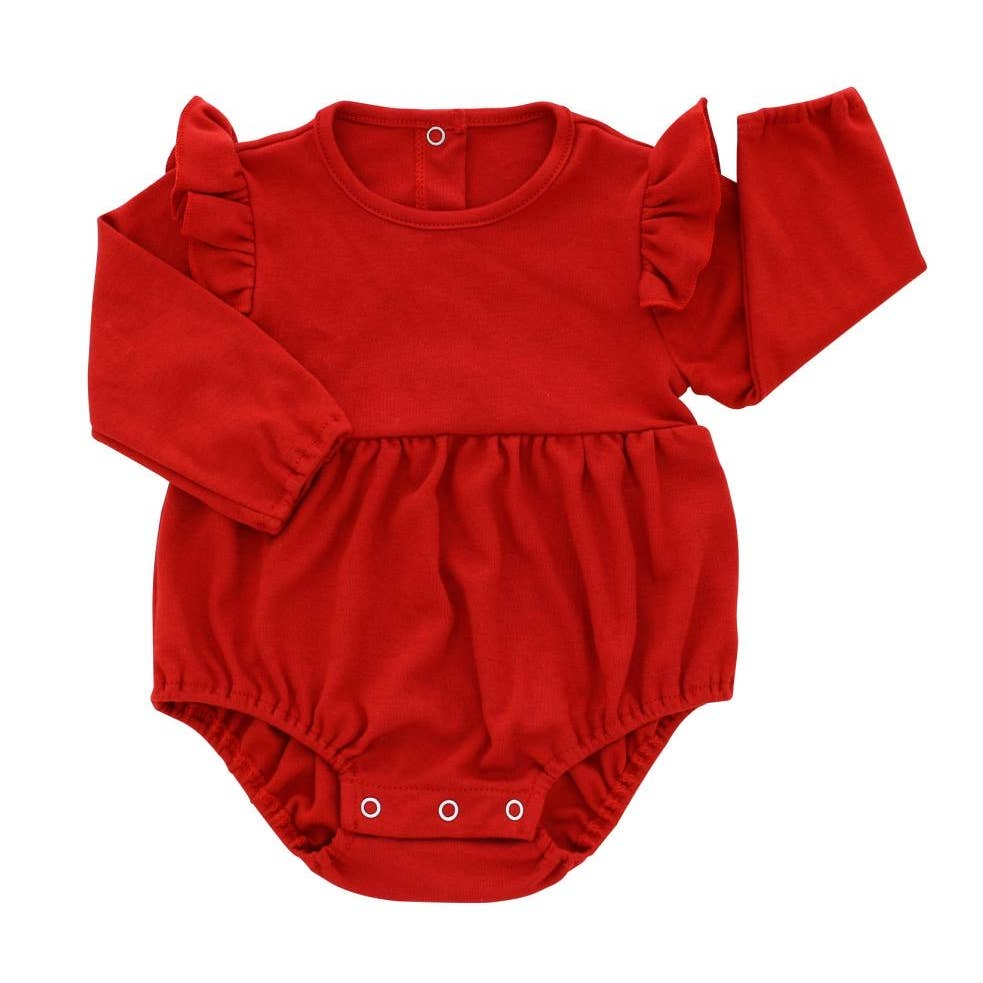Red Long Sleeve Flutter Onesie - Holiday Christmas Onesie
