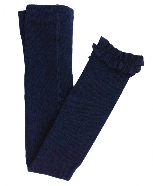 RuffleButts Footless Tights - Navy