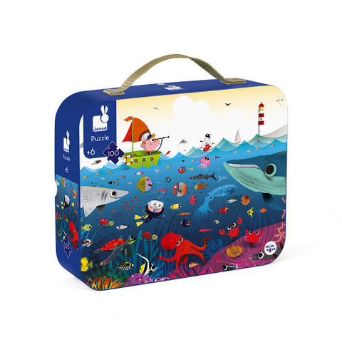 Round Suitcase Puzzle Underwater World 100 Pieces