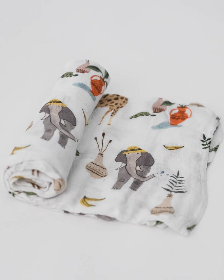 Deluxe Muslin Swaddle Single - Safari Social