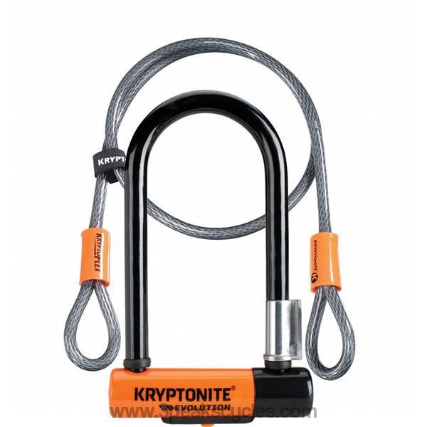 Kryptonite Evolution Mini 7 Lock With 4 Foot Cable With Flexframe Bracket Sold Secure Gold-Locks