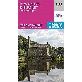 OS Landranger Map 103 - Blackburn & Burnley, Clitheroe & Skipton-Books & Maps