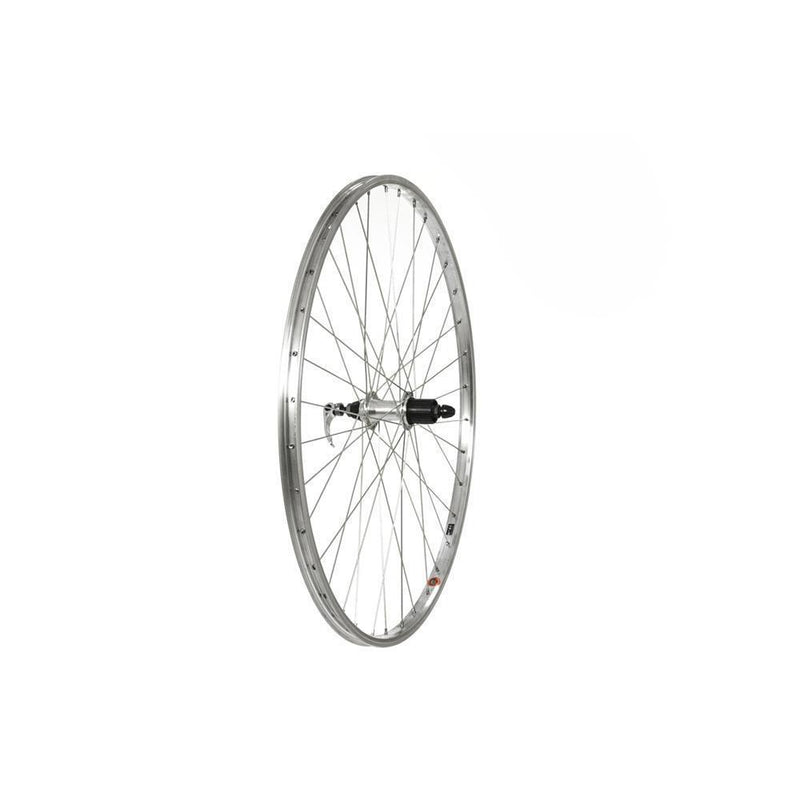 "Raleigh 26 X 1.75"" Rear Wheel, Silver, 7Spd Cassette (QR)-Wheels"