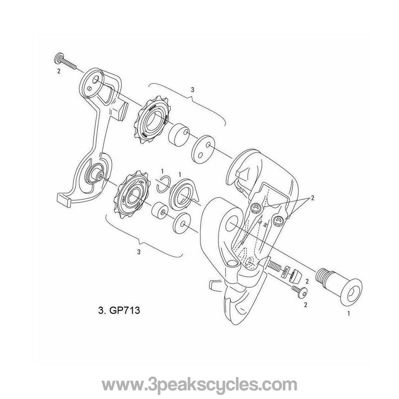 SRAM SPARE - 00.0000.200.713 - REAR DERAILLEUR PULLEY KIT 2004 X9, 9.0SL / 2003 9.0 Jockey Wheels-Spares