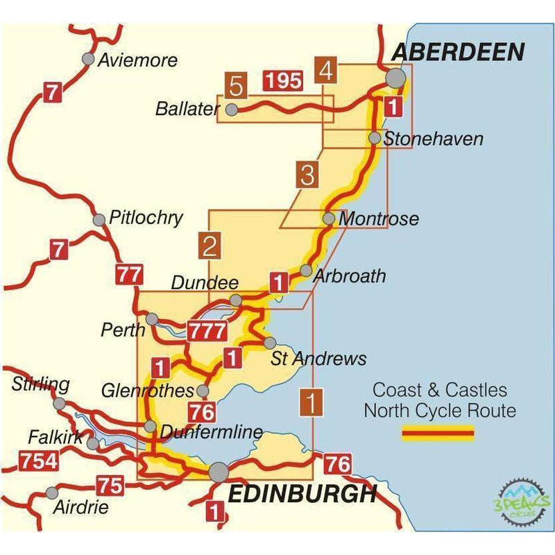 Sustrans Cycle Map - Coast & Castles North (Route 1) - Edinburgh - Aberdeen-Books & Maps