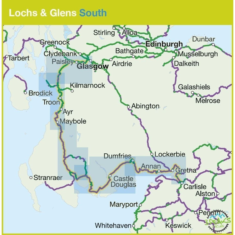 Sustrans Cycle Map - Lochs & Glens South (Route 7)-Books & Maps