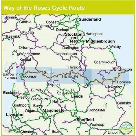 Sustrans Cycle Map - Way Of The Roses - Morecambe to Bridlington Cycle Route Map - 5th Edition-Books & Maps