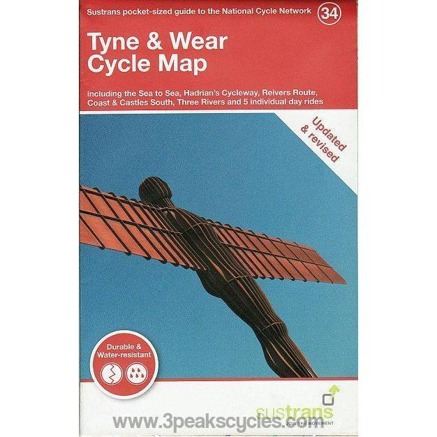 Sustrans Pocket Guide 34 - Tyne & Wear Cycle Map - Sea To Sea, Hadrian's Wall Cycleway, Reivers Route, Coast & Castles South, Three Rivers-Books & Maps