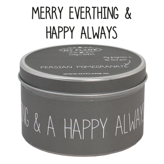 Soja kaars  - Blikje Merry everything and a happy always - Lounge&Lifestyle
