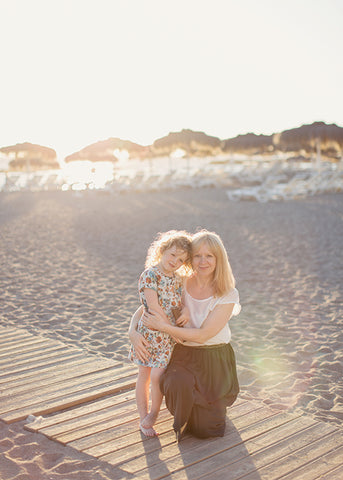 photograph of eva and lila on the beach in tenerife