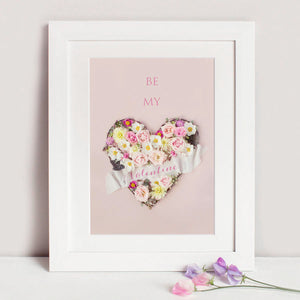 Be My Valentine Personalised Print with Floral Heart