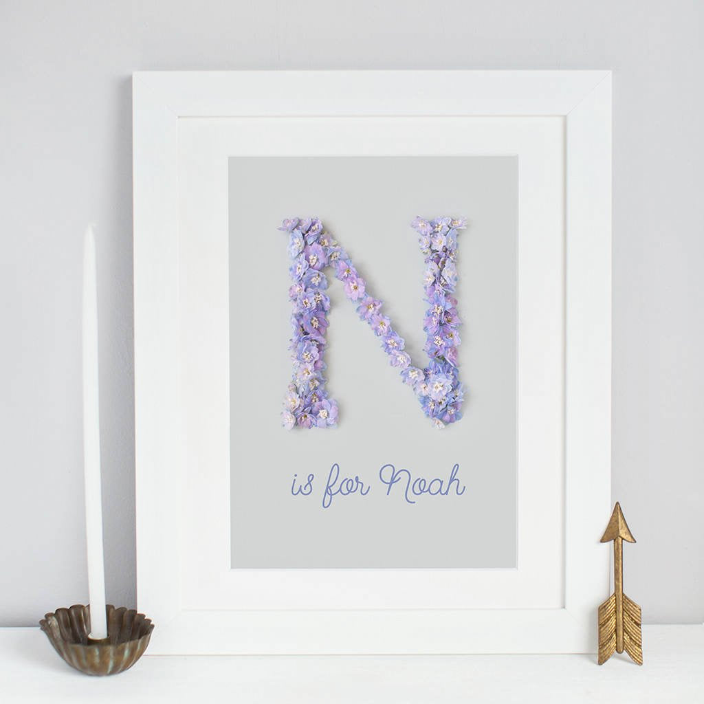 personalised intial print created using a handmade floral alphabet, blue flowers on grey background