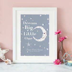 personalised print with crescent moon and stars design, a great gift for your child's birthday or new parents