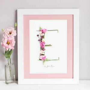 personalised intial print created using a handmade floral alphabet