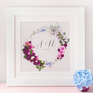 Floral Wreath Initial Print