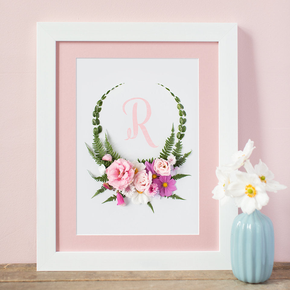 personalised intial print with floral wreath design