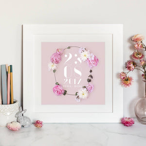 personalised name and date print with modern font and floral details