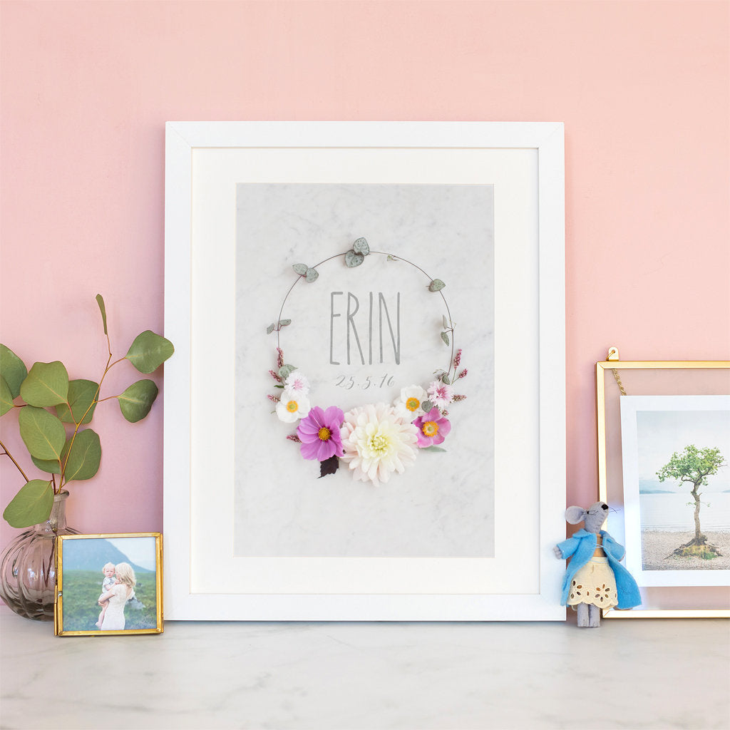 Personalised Initial Print with Floral Wreath