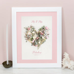 Personalised Floral Love Heart Print