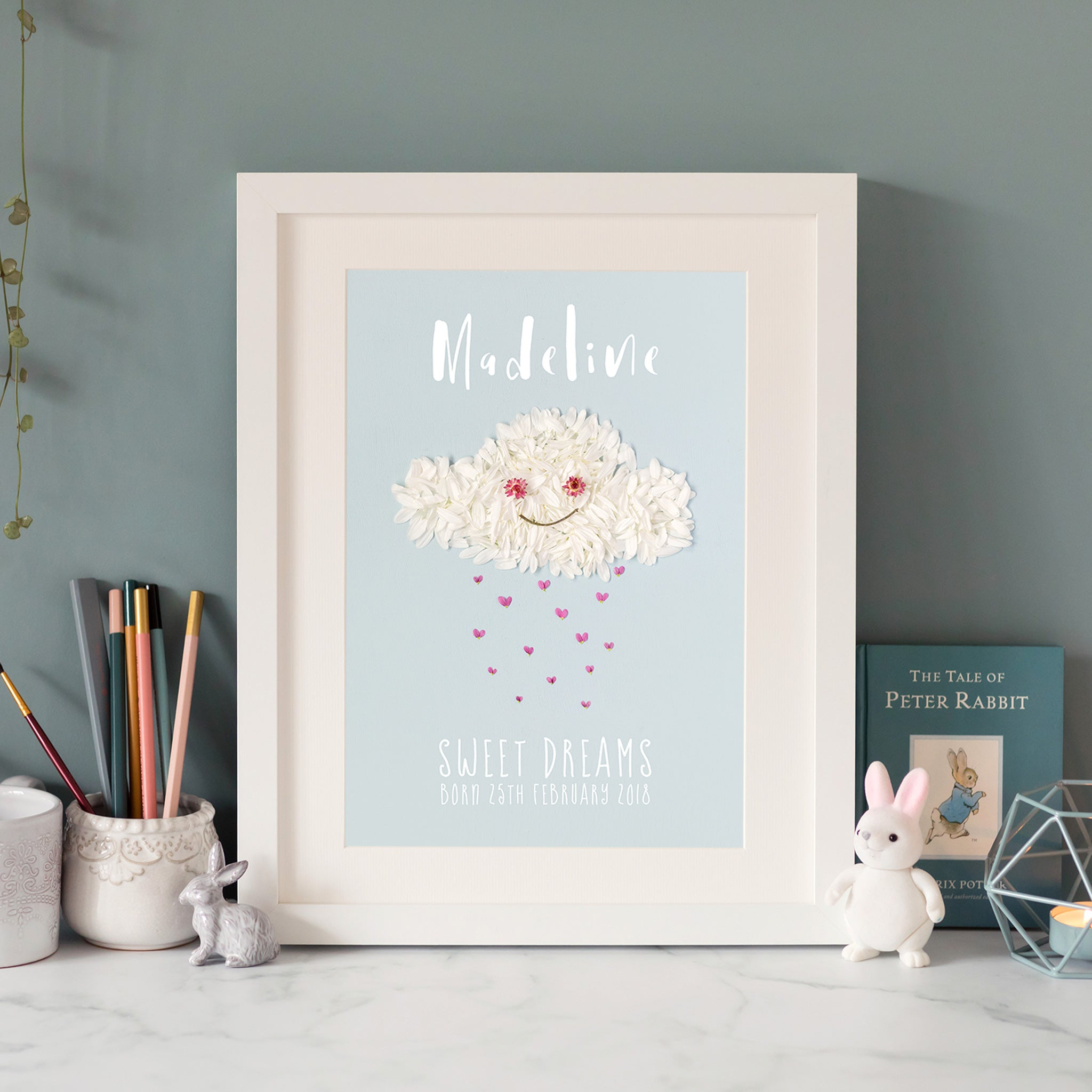 personalised print with rain cloud design, a great gift for your child's birthday or new parents