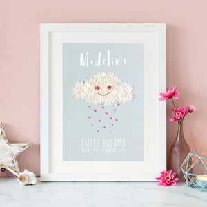 personalised print with rain cloud, a great gift for your child's birthday or new parents