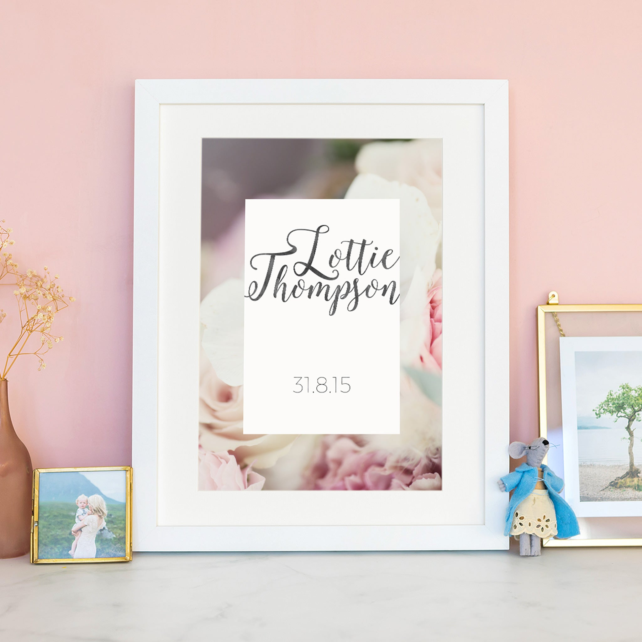 personalised keepsake name and date print with floral background and modern typography.