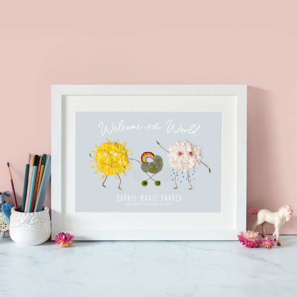 personalised print with happy sun and cloud parents and their baby rainbow, a great gift for your child's birthday or new parents