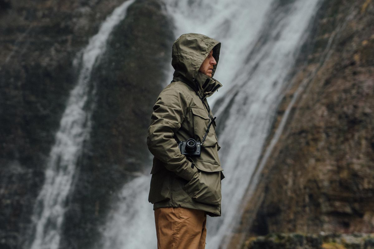 Photographer Julien Mazard on location in the Pyrenees with the VOITED Field Smock jacket