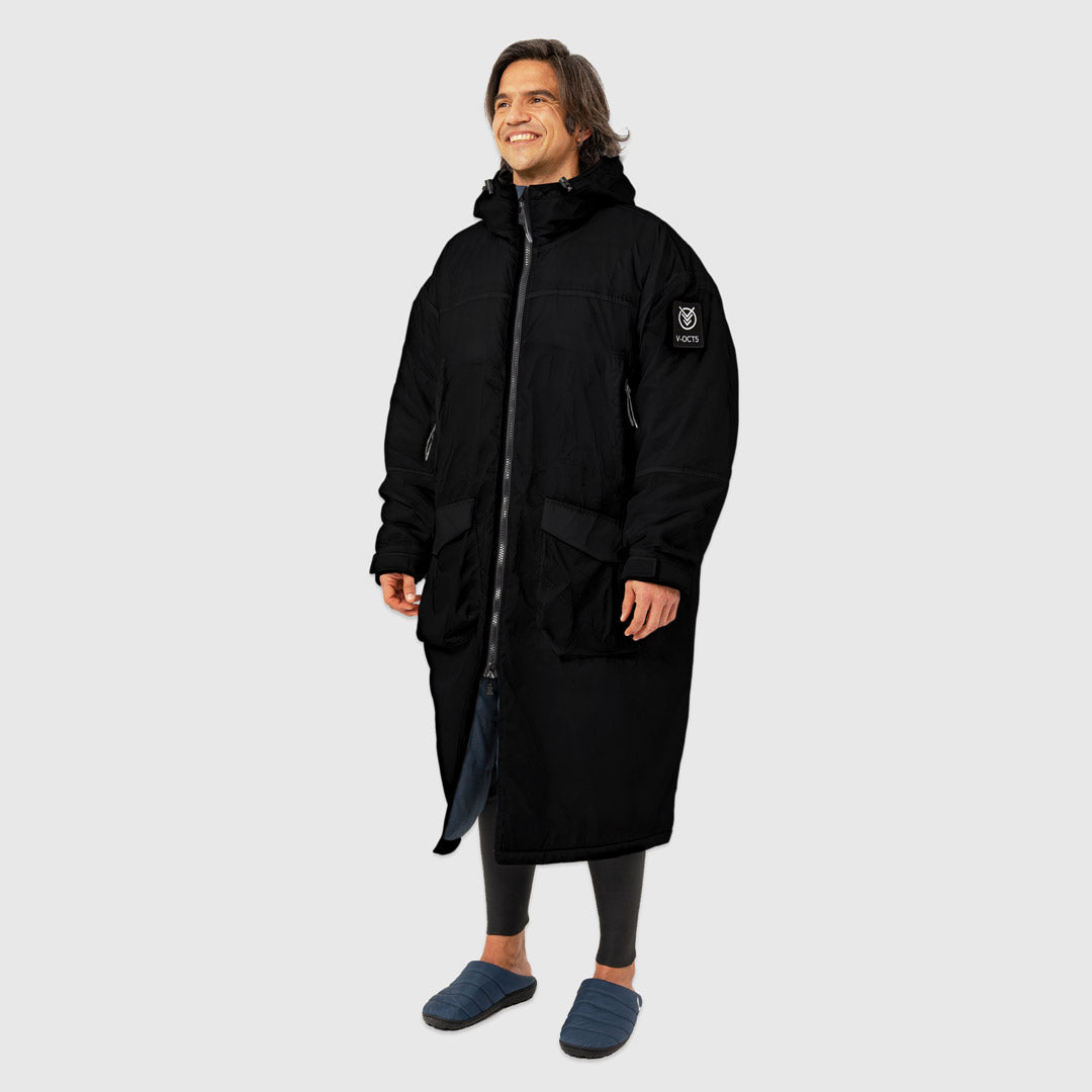 OUTDOOR CHANGE ROBE & DRYCOAT FOR SURFING, CAMPING, VANLIFE & EXTREME SIGHT-SEEING BLACK
