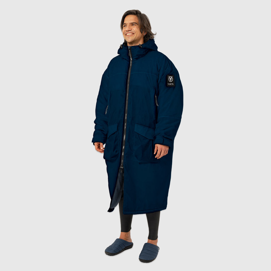 OUTDOOR CHANGE ROBE & DRYCOAT FOR SURFING, CAMPING, VANLIFE & EXTREME SIGHT-SEEING OCEAN NAVY