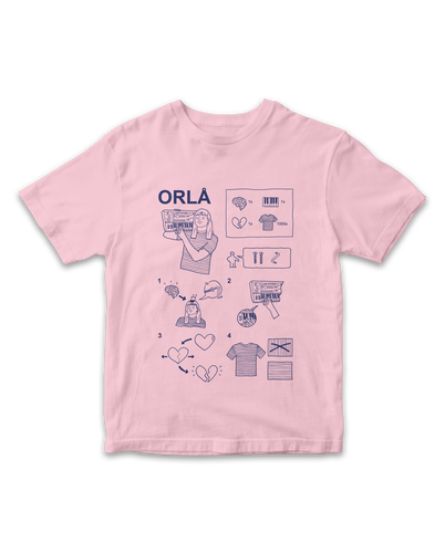 ORLA flatpack tee, NAVY X LIGHT PINK