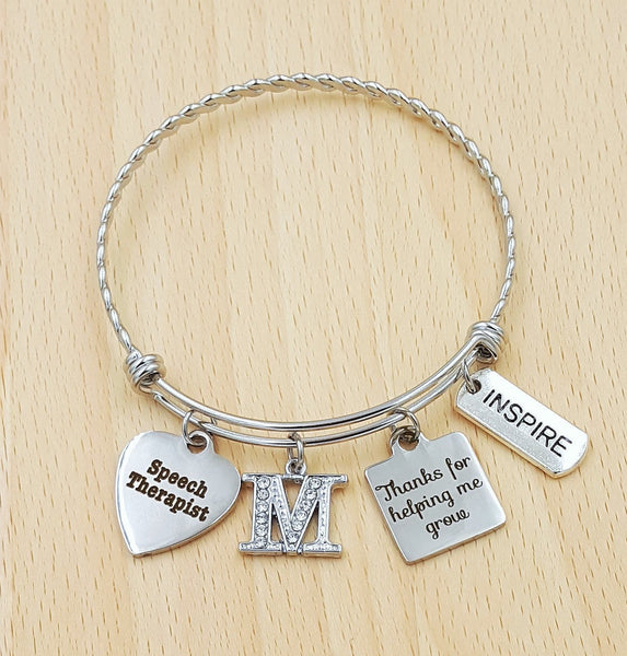 Speech Therapist Gift Speech Language Pathologist Gift Speech Therapist Bracelet Gift for Speech Therapist Thank You For Helping Me Grow