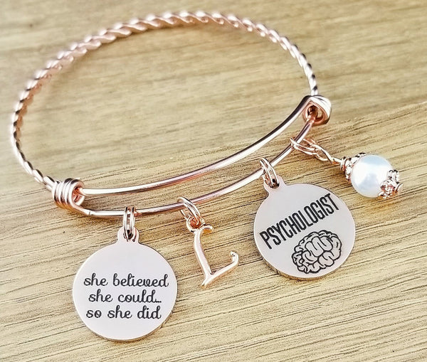 Rose Gold Psychologist Gift Graduation Gift for Psychologist Psychology Gifts Psychology Jewelry Graduation Gift College Graduation Gift