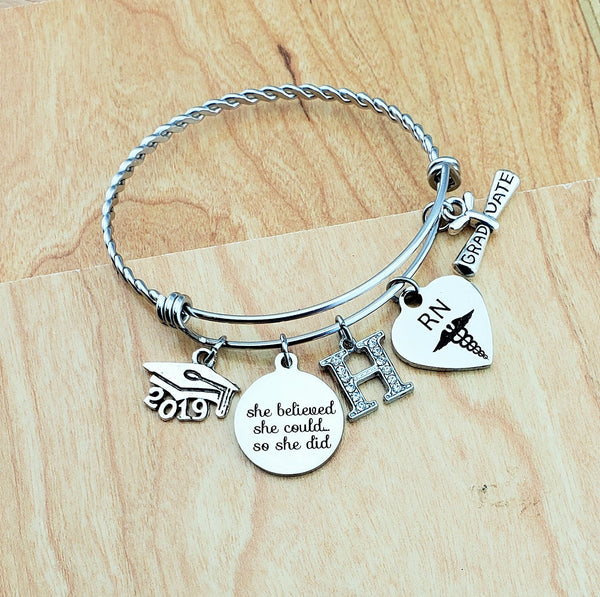 Nurse Graduation Gift Nursing Gifts RN Gifts College Graduation Gift for Her Gift for Daughter Graduation Bracelet 2019 Graduation Jewelry