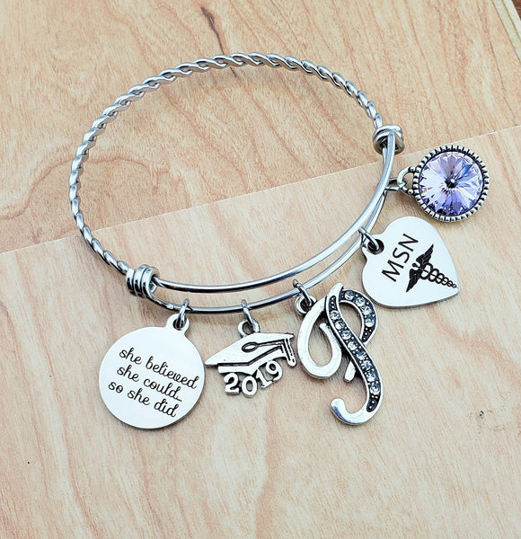 MSN Graduation Gift Graduation Gift for Daughter Best Friend Bracelet Sister Jewelry Birthstone Nurse Graduation Gifts Masters In Nursing
