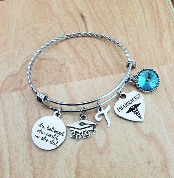Pharmacist Graduation Gift PharmD Graduation Gift 2019 Graduate Gifts Personalized Bracelets for Women Custom Charm Bracelet College Student