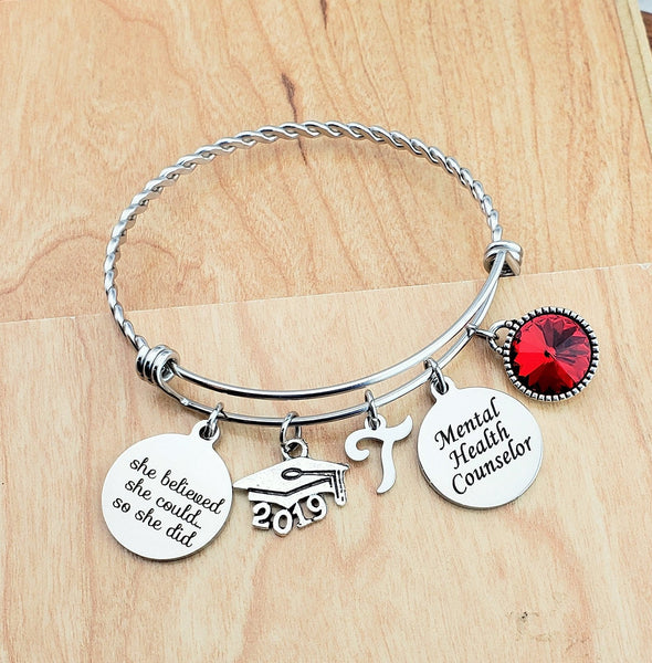 Mental Health Counselor Gift Personalized Charm Bangle College Graduation Gift Bangle Bracelet with Charms Sister Graduation Gift 2019