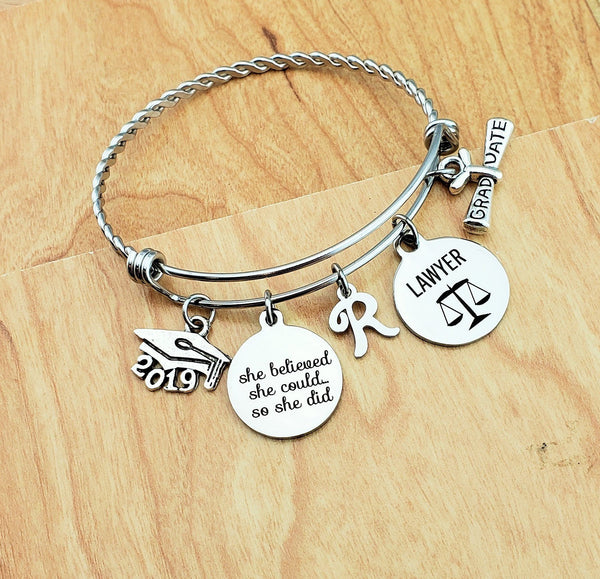 Lawyer Graduation Gift for Women Graduation Gift Ideas Lawyer Bracelet Inspirational Bracelet Charm Bracelets Jewelry Gifts for Daughter