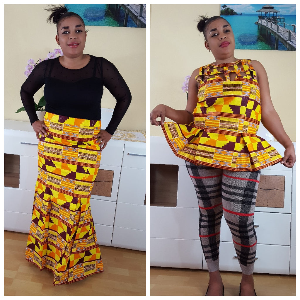 African Seumen maxi skirt for women, handmade kente maxi skirt. - yalinat