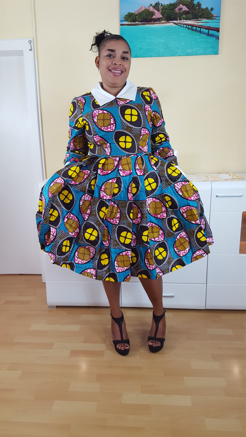 african print NOUNUC midi dress, african clothing, african midi dress, ankara midi dress, african fashion. - yalinat