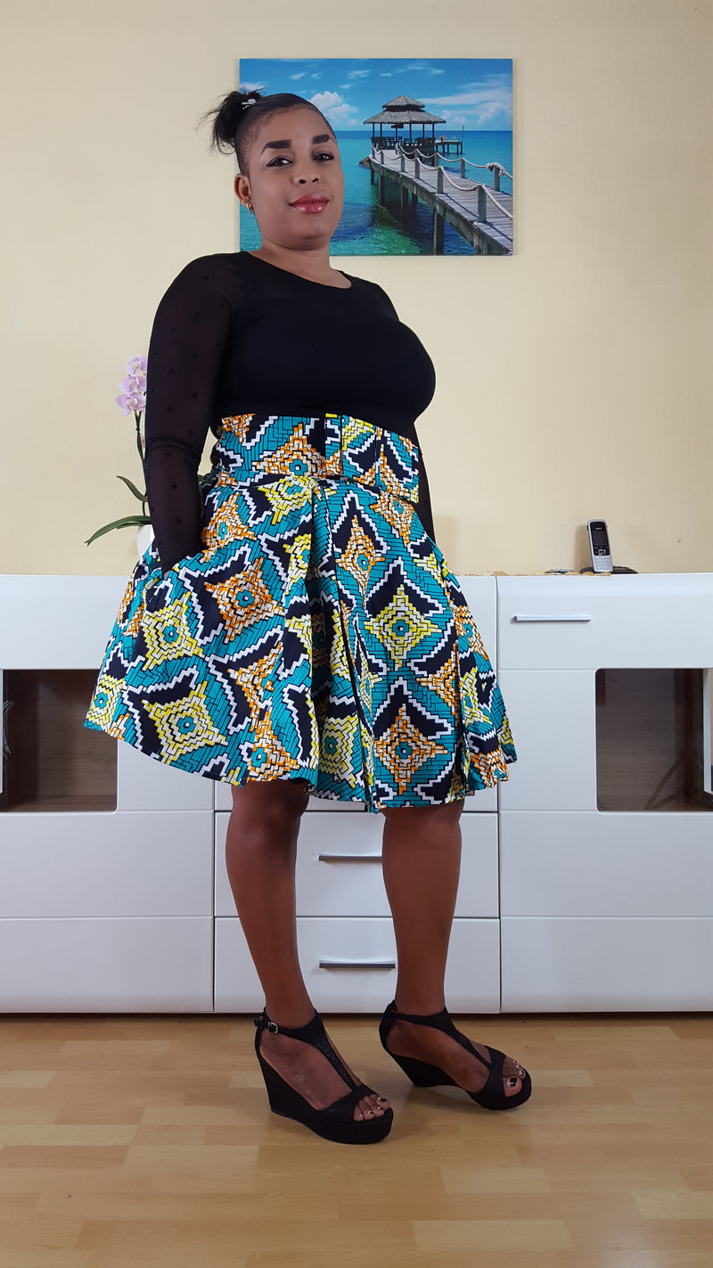 African Print TObbi Midi Skirt, ankara midi skirt for ladies. - yalinat