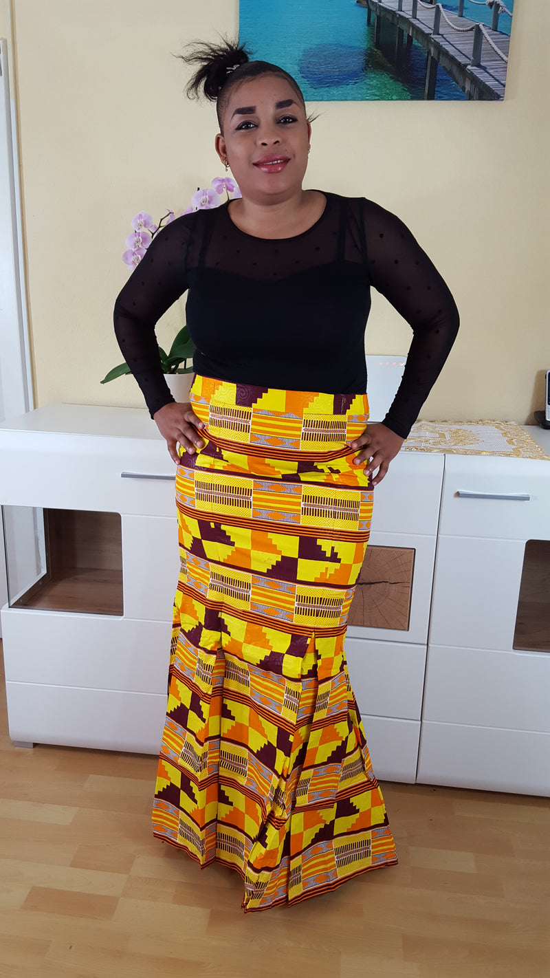 Kente Seumen maxi skirt for women. - yalinat