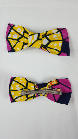 African HC03 print hair clip with bow. - yalinat