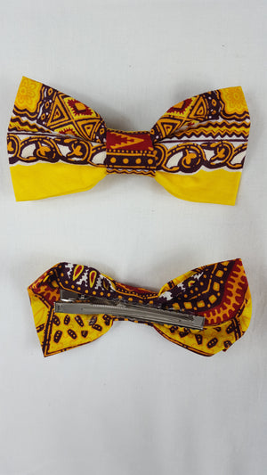 African HC05 print hair clip with bow. - yalinat